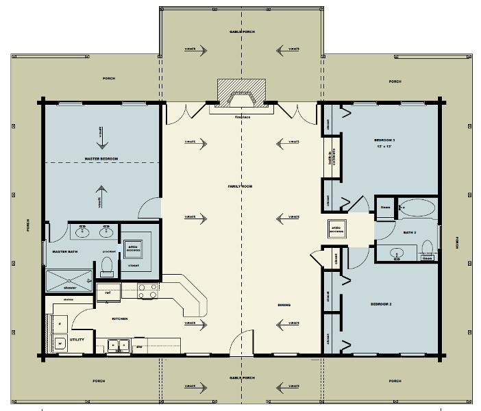 3 Bedroom Timber Home Floor Plans
