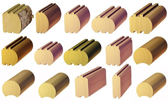 Timber profiles for log homes